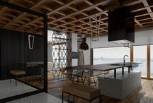 apartment Warsaw / design, interior design, black oak, mosaic, black steel, loft, industrial, natural stone, concrete