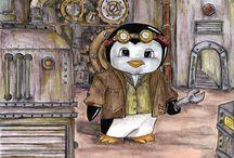 Steampunk Penguins For Erin