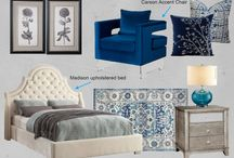 Trendy Bedroom Style /  Meridian Furniture- This Chic and Trendy Bedroom Style is perfect for any Modern home. The Madison Beige Velvet bed and the Navy Carson Accent chair go perfect together.