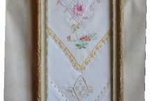 antique spite frame containing samples of hankins