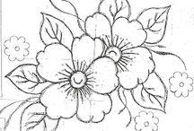 Decalque flores e folhas