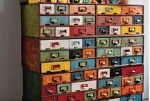 Library Card Catalog Ideas / Ways to integrate and repurpose old card catalogs or library things.