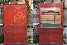 contador vermelho cereja / stencil de uma rosa
