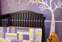 baby girl nursery - purple and yellow