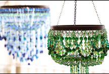 Lighting - bead chandelier - boncuk avize / El işi boncuk avize