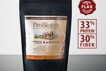 ProBiotein / High in dietary fiber and protein, ProBiotein's 4 prebiotic fibers feed the beneficial probiotic digestive bacteria in your GI tract.  ProBiotein also provides 4 digestive enzyme types that can aid in your digestion of starches, sugars, fibers, proteins and minerals.