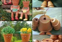 Terra cotta flower pot people, etc.