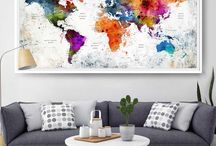 Extra Large World Map / Watercolor, Home Decor, Art Poster, Wall Art,  Push Pin Travel World Map, Push Pin Travel Map, Watercolor World Map Print, Push pin world map, pushpin map, Wall Art, world map poster