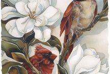Madarak, és festett madarak.