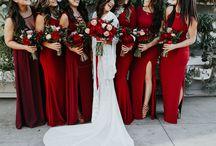 Bridal Party Attire / Wedding Inspiration; Wedding Ideas; Bridesmaid Dresses; Groomsmen Attire; Groomsmen; Bridesmaids; Bridal Party; Groomsmen Tuxes