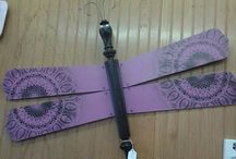 Wall Decor Art / Recycled items upcycled into functional art. Dragonfly, Key Holder, Signs, Snow Shoes. Available for sale at The Rusty Bucket