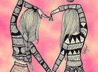 dibujos de amigas