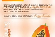 PAPAYA SCHEDULE-2 / PAPAYA SCHEDULE 2 - Offer never offered to be offered,  Excellent Opportunity from PROYOUNG INTERNATIONAL to ENJOY 100% FOB on all your PAPAYA Purchases in addition to our PROYOUNG INTERNATIONAL Exclusive 50 gms Silver till 31st Jan.