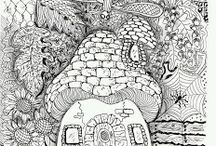 coloring pages: mushrooms/faries