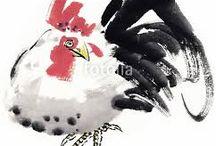 닭 문인화