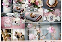 pale grey and blush pink wedding