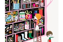 Illustration : : home scenes / Beautiful illustrations of homes, kitchens, living room, bedrooms, houses, family life.