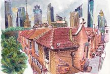 China Sketchbooks / Travel sketchbook of China during the World Sketching Tour in 2013. Mostly sketches done with watercolor on location. Author: Luis Simoes