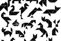 Tangram voorbeelden / Voorbeelden om verschillende Tangram afbeeldingen te maken met de krijtbordstickers van Veerdesign.nl