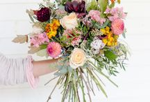 Rustic bouquets / Bouquets that are informal, unstructured & with abundant foliage & other foraged matter such as twigs & berries to give an overall effect of the countryside or gathered from the fields or the forest vibe.