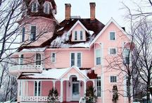 Pink/blue/pastel painted houses