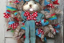 Making  easter bunny wreath