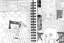 SKETCHES / ink on paper sketches made along black coffe