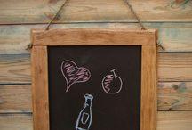 Blackboard drawing / Blackboard drawing in the frame of pine brushed