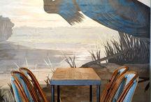 Restauracja, bistro, bar, cafe - grafika we wnętrzu. Wall design in restaurant / Druk wielkoformatowy w służbie designu :)