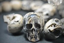 Hand Carved Sculpture 29 Tamarind Wood Human Skull into Necklace Oddities / Find this necklace on Etsy