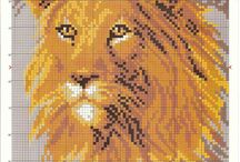 Ponto cruz leoes