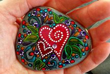 Hearts-painted rocks