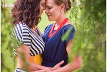 """Engagement Outfits: Spring and Summer / What to wear for your spring engagement photos or portraits. It's not about being matchy-matchy, rather dressing in the same color palette.  Note a common thread of keeping arms covered, and choosing solids or subtle patterns over """"loud"""" patterns that can distract the viewer."""