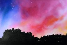 Edinburgh, Stirling and The lothians & Scottish Borders, Scotland. Paintings & Prints Gallery. / Mixed media paintings of Scotland landscape in spray paint, acrylic and oil paint by Scottish artist A Peutherer More at www.scottishlandscapepainting.co.uk