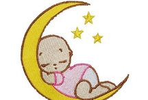 embroidery / baby sleeping on moon