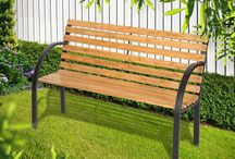Garden Classic Bench Metal Legs Wooden Seating Outdoor Furniture Patio Home Park