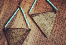 Wooden Earring, Necklace, Bracelet