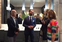 Cerasa con Paola Marella / Paola Marella al Salone del Mobile con Cerasa e Marco Poletti