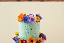 colourful wedding cake with flowers