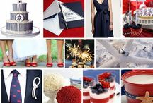 Maureen & Roger's Wedding / colors are navy and white with a pop of red here and there - nautical theme wedding, white flowers for cocktail tables with red table cloths, bridesmaid dresses are navy, reddish centerpieces, starfish/lighthouses/sailboats/anchors / by Jamie Bohlin