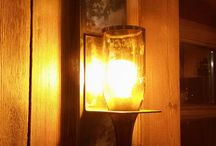 Wall lamps from old bottles