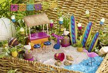 Miniature beach and water gardens