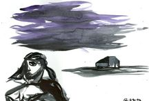 Landscape - Roman Lasa / oil on canvas/board , pastel/watercolour/gouache on paper
