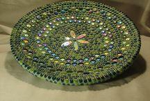 green mosaic plate