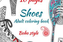Adult coloring book / Adult coloring book. Black and white illustrations