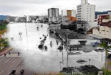 Galeria especial - 30 Anos da enchente / As fotos desta galeria são resultado de uma fusão de imagens impactantes da cheia com a vida atual no Vale do Itajaí. A produção foi inspirada na série da historiadora holandesa Jo Hedwig Teeuwise, intitulada Ghosts of War, feita em 2012