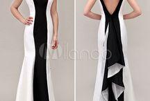 vestido blanco negro