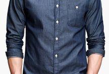Blue Pure Cotton Solid Color Button Down Neck Pockets Men's Casual Shirt.