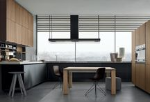 Twelve kitchen / An air of purity is accentuated by slim volumes and strong horizontal lines.