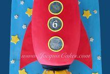 One birthday cake with rocket